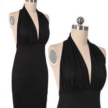 Load image into Gallery viewer, Plunge Front Deep V-Neck Backless Women Sexy Halter Backless Slim Bodycon Dress