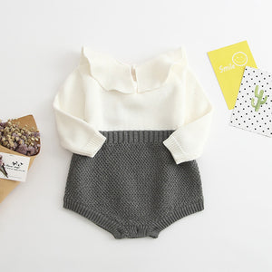 Autumn Cute Infant Baby Girls Newborn Long Sleeve Jumpsuit Knitted Ruffle Romper