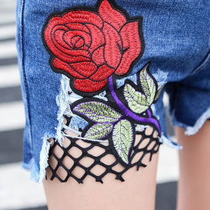 Summer Rose Flower Embroidery Women Denim Shorts Sexy Fish Net Hole Hot Pants
