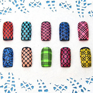 Nail Art Hollow Template Sticker Stamp Stencil Guide Manicure Tips Stamping Tool