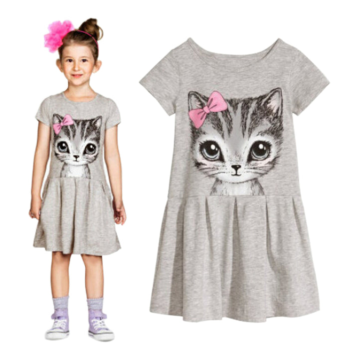 Kids Girls Fashion Summer Short Sleeve Cute Cat Bowknot Dress O-Neck Dress