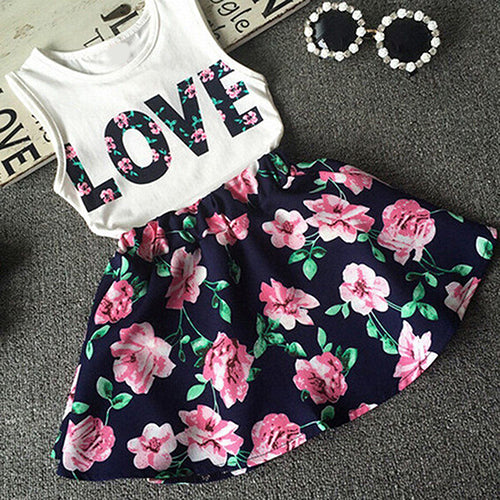 Girls Sleeveless Love Letters Printed Vest Tops + Floral Skirt Two Piece Set