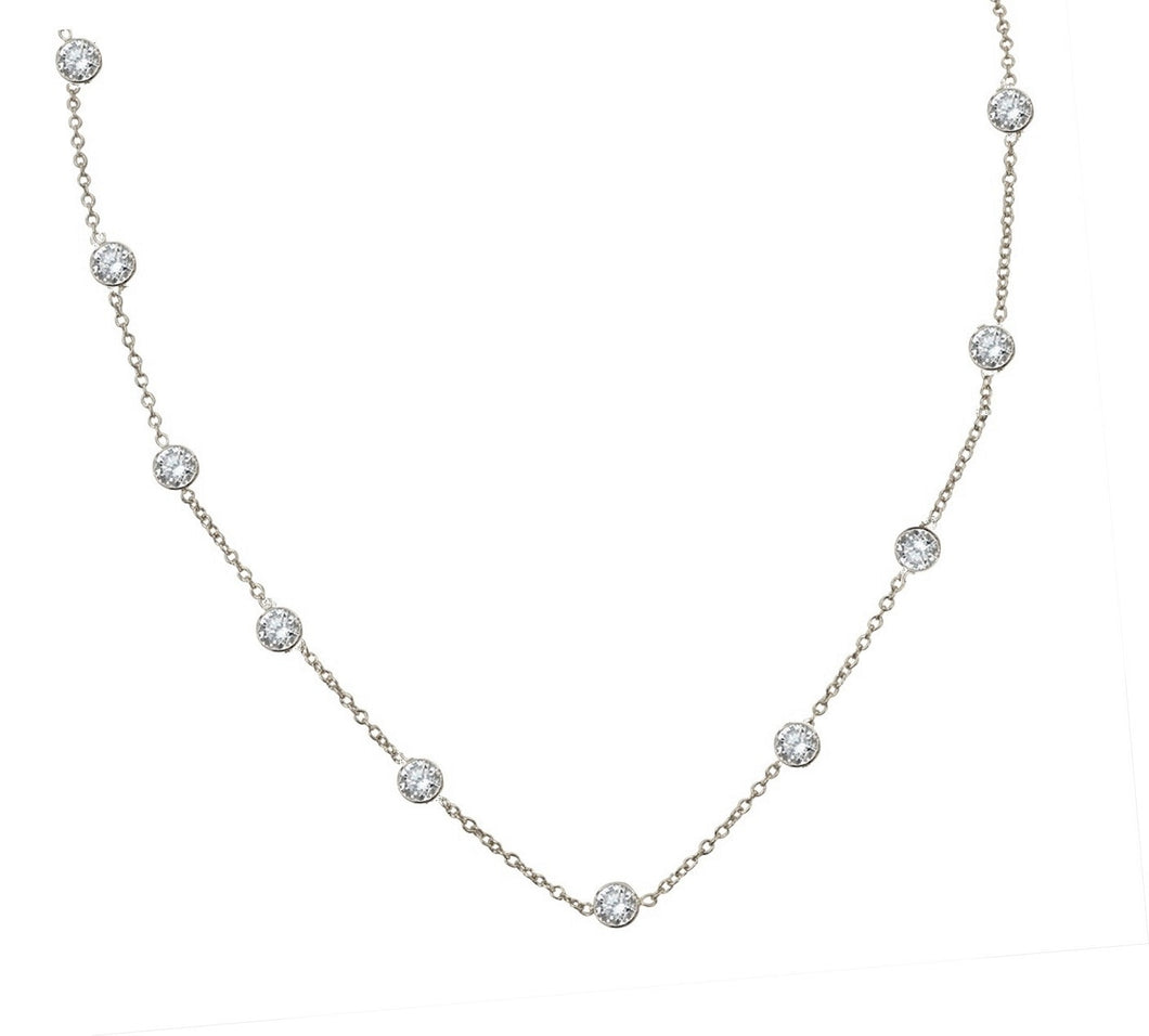 ZIRCONITE 10-STATION CUBIC ZIRCONIA STERLING SILVER NECKLACE