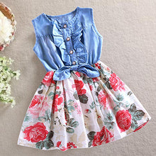 Load image into Gallery viewer, Baby Toddler Kids Girls Summer Denim Vest Top Tulle Party Skirt Flower Maxi Dress