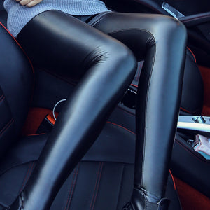 Women Skinny Faux Leather Stretchy Pants Leggings Pencil Tight Trousers Fashion