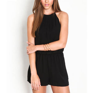 Fashion Solid Color Halter Sleeveless Women Summer Casual Short Romper Jumpsuit