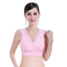 Load image into Gallery viewer, Women's Breastfeeding Nursing Cross Lace Wire Free Unpadded Cotton Sleep Bra
