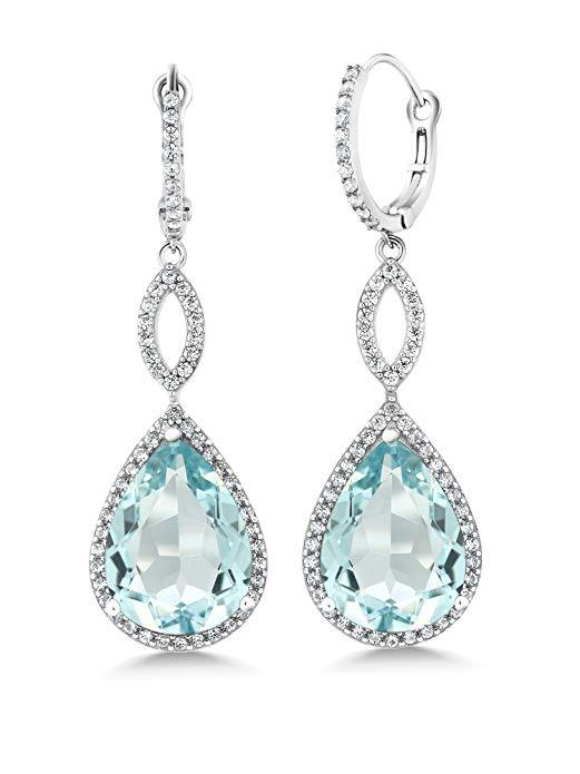 Blue Topaz Pave Teardrop Infinity Drop Embellished with Swarovski Crystals in 18K White Gold Plated