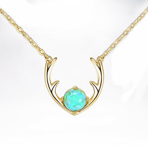 Opal Created Moose Antlers Necklace in 18K Gold Plated
