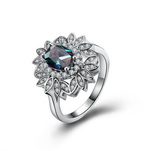 Mystic Topaz Floral Bud Cocktail Ring in 18K White Gold