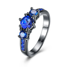 Load image into Gallery viewer, Sapphire 3 Stone Black Gun Plating Midi Ring