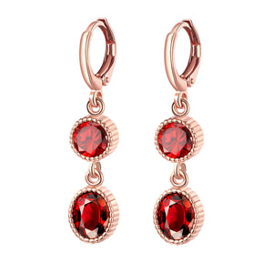 Duo Red Swarovski Elements Drop in 14K Rose Gold