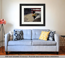 Load image into Gallery viewer, Framed Print, American Flag And Monuments