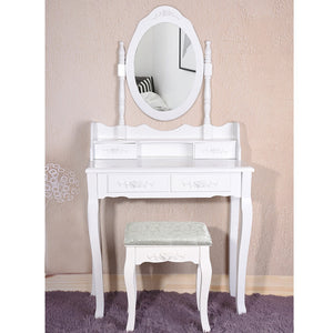 Panana 4 Drawer Vanity Table Set Dressing Table with Cushioned Stool