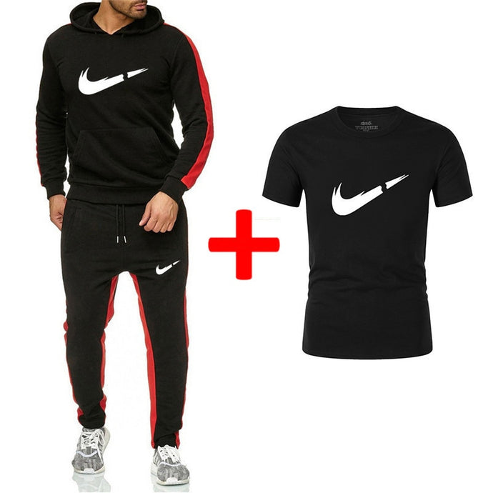 Hoodies Sweatshirt  Hoodie Tracksuit  Sweatshirts+Sweatpants+T shirts Sets Fleece