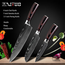 "Load image into Gallery viewer, 8""inch japanese kitchen knives Laser Damascus pattern"