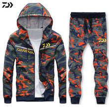 Load image into Gallery viewer, Fishing Suit Full Sleeve Hoodie Elastic Pants Sport Camouflage