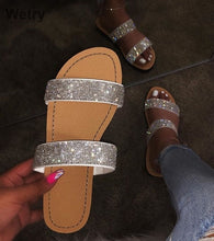 Load image into Gallery viewer, Crystal Diamond Bling Beach Slides