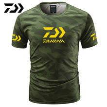 Load image into Gallery viewer, Fishing Camouflage Outdoor Fishing Tshirt Breathable Letter Short Sleeve