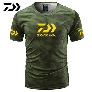 Fishing Camouflage Outdoor Fishing Tshirt Breathable Letter Short Sleeve
