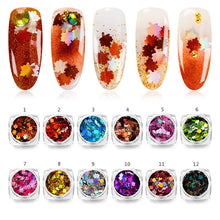 Load image into Gallery viewer, Maple Leaf Nail Art Sequin Autumn Design