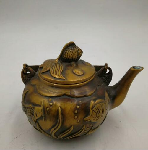Chinese Folk Copper Bronze hand carved  fish Teapot