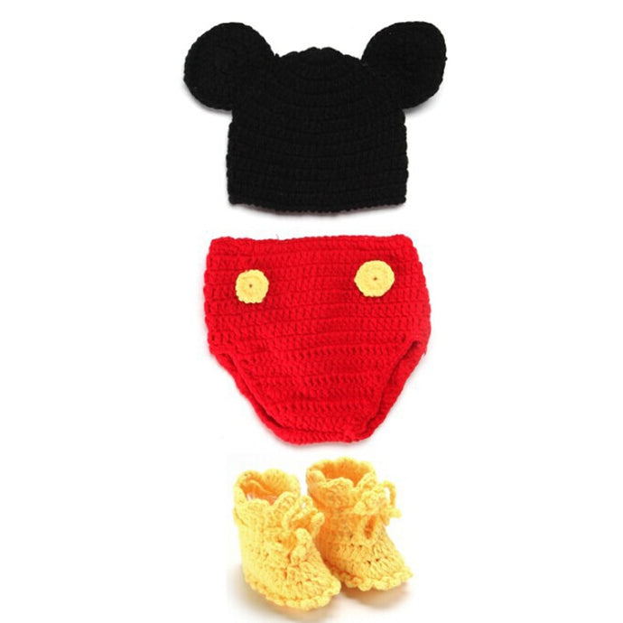 Infant Clothes Knitted Handmade Mickey  3pcs/set Pants + Hats +Shoes Newborn