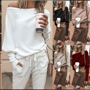 Off Shoulder Loose Pullover Sweater Long Sleeve Knit