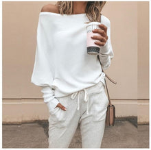 Load image into Gallery viewer, Off Shoulder Loose Pullover Sweater Long Sleeve Knit