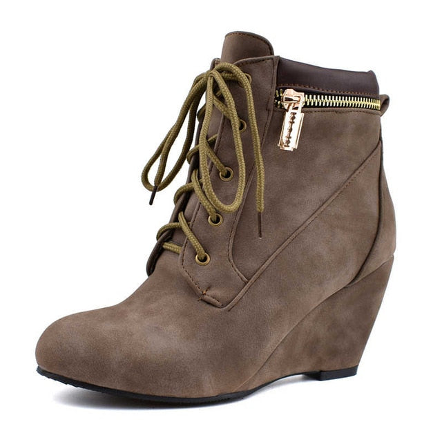 wedges boots lace up zip
