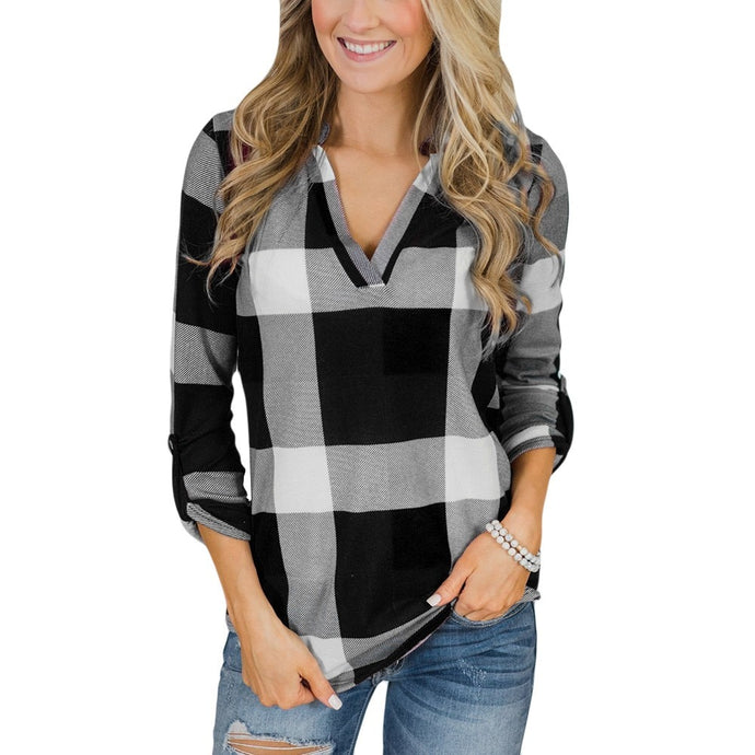Womens Roll Up Long Sleeve V Neck Button Plaid Lattice Shirt