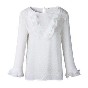 Lace Polka Dot O Neck T-shirt Long Sleeve