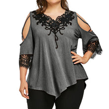 Load image into Gallery viewer, Lace Off Shoulder T-Shirt Short Sleeve