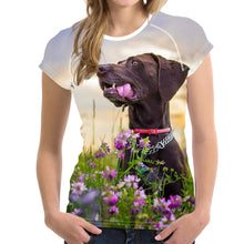 Load image into Gallery viewer, Puppies Print Short Sleeve Women T Shirt