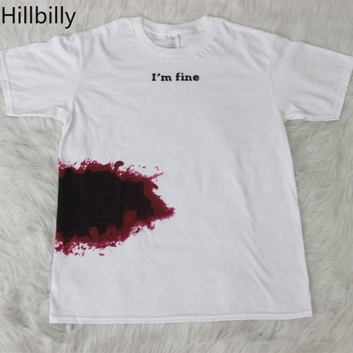 I'm Fine Print T-shirts Short Sleeve  Cotton