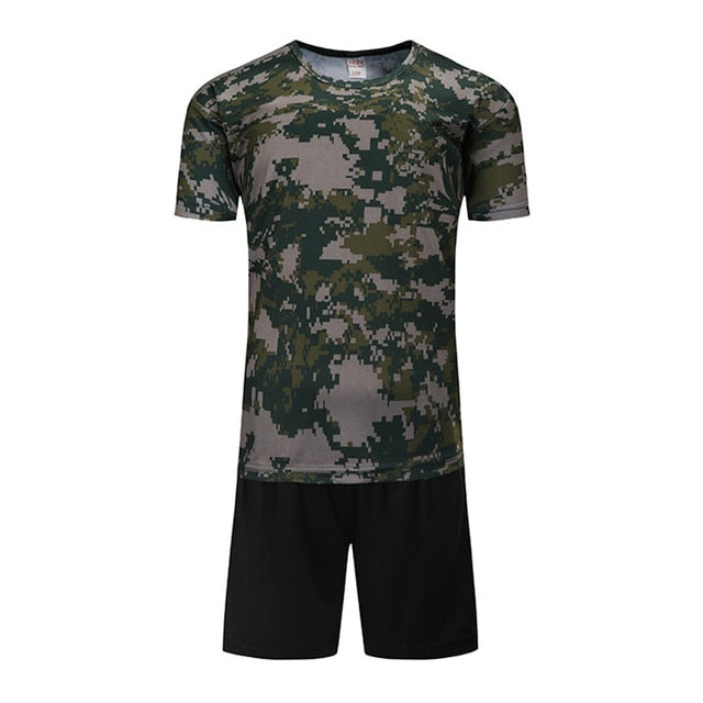 Camouflage Short Sleeves T-Shirt Shorts Suits