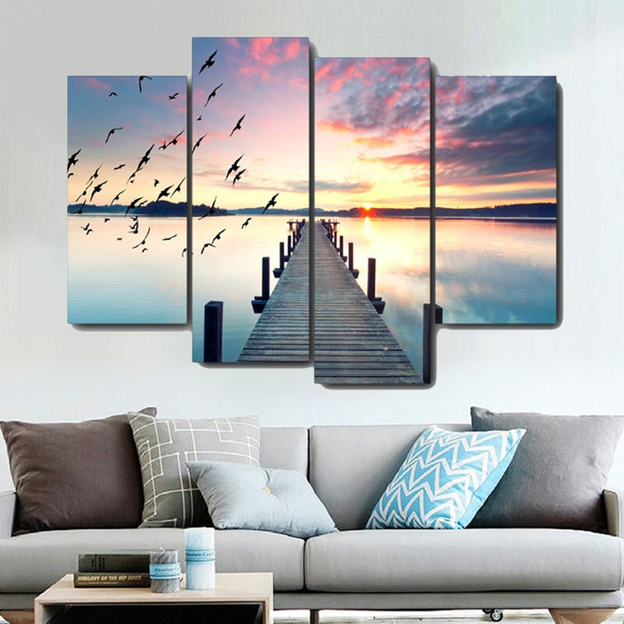 Artistic Riverside Scenery Canvas Painting