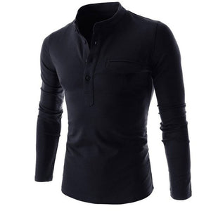 Men Shirt Long Sleeve Solid Color Slim Fit
