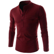 Load image into Gallery viewer, Men Shirt Long Sleeve Solid Color Slim Fit
