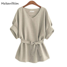 Load image into Gallery viewer, Linen Tunic V Neck Big Bow