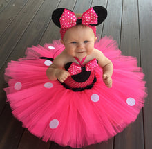 Load image into Gallery viewer, Pink Cartoon Tutu Dress Baby Mickey Minnie Crochet Tulle Tutus with Dots Bow and Headband Kids  Party Dress