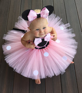 Pink Cartoon Tutu Dress Baby Mickey Minnie Crochet Tulle Tutus with Dots Bow and Headband Kids  Party Dress