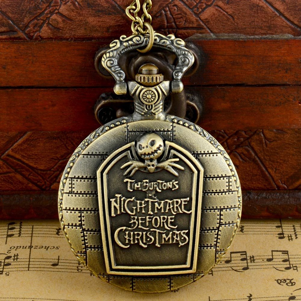 Steampunk  Nightmare Before Christmas Fob Retro Pendant Pocket Watch Chain