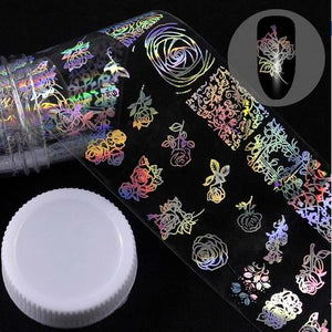 Roll Holographic Nail Foil Flame Dandelion Panda Bamboo