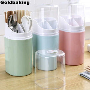 4 Compartment Plastic Kitchen Utensil Holder with Cover