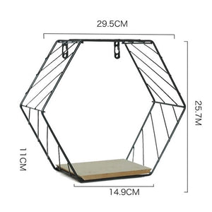Iron Hexagonal Grid Wall Shelf