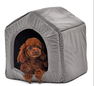 House Shape Dog House Nest With Mat Foldable Small Medium Dogs