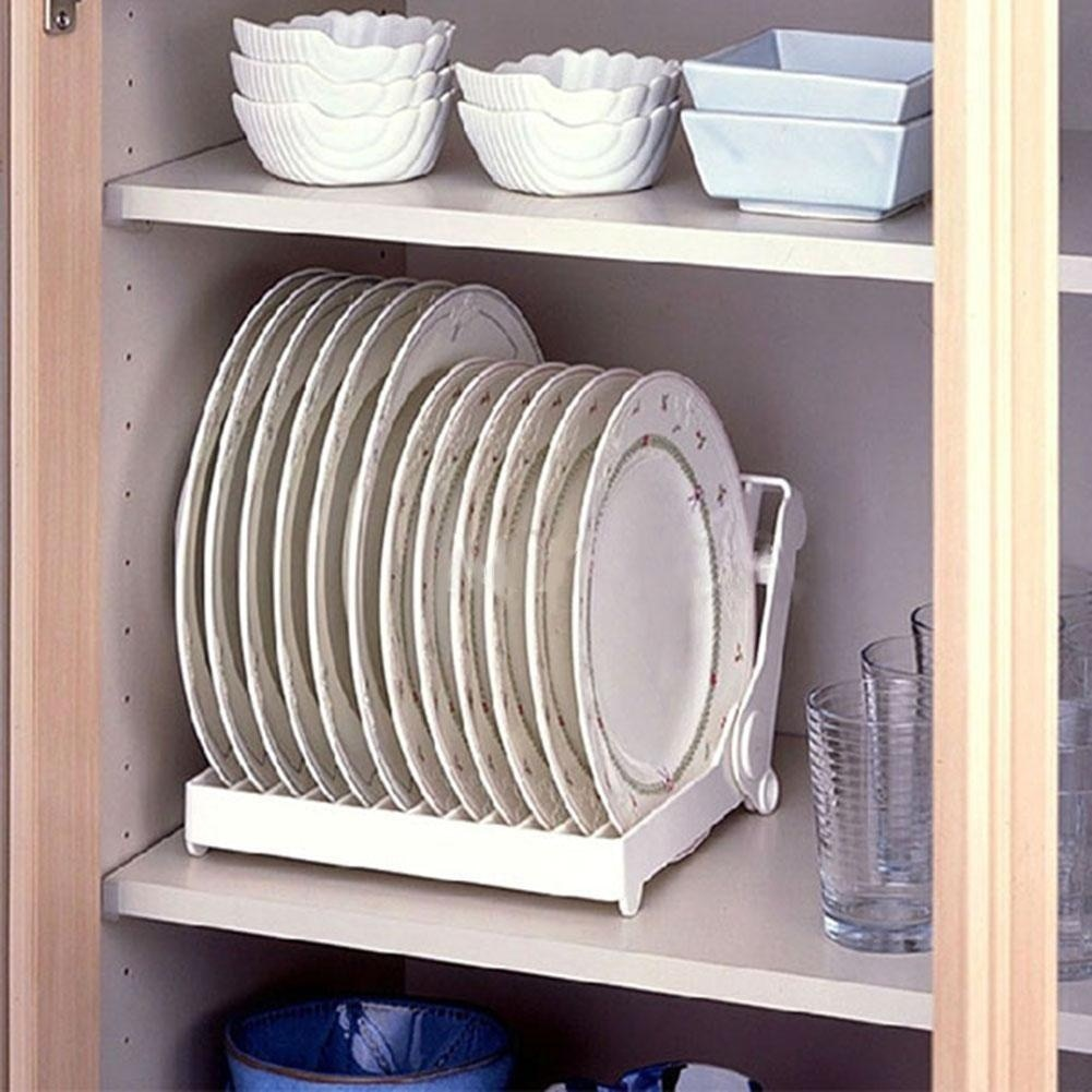 Kitchen Foldable Dish Plate Drying Rack Organizer