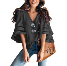Load image into Gallery viewer, V Neck Flared Sleeves Mesh Patchwork Shirts