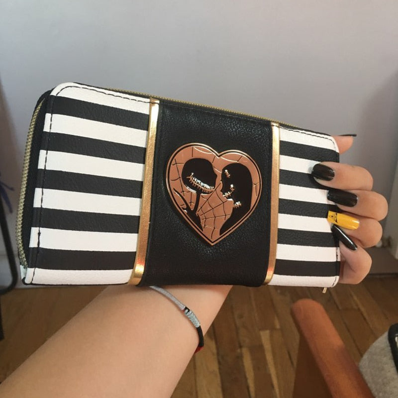 Striped Jack and Sally Zipper Women Wallet